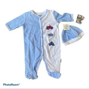 NWT Little Me Preemie Set with hat blue white snap